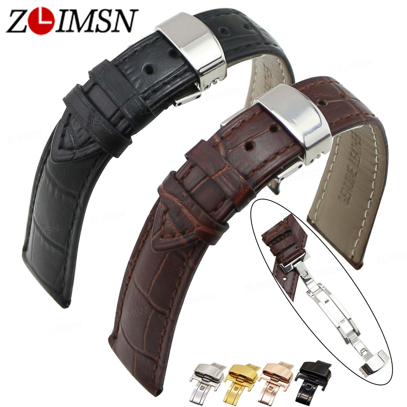 ZLIMSN Black Genuine Leather Watchband 18 20mm Butterfly Deployment Clasp Replacement Relojes Hombre Men Women Watch Accessories watch straps with silver black deployment clasp watchband genuine leather bracelet for men women watches 20mm 21mm 22mm hot sell
