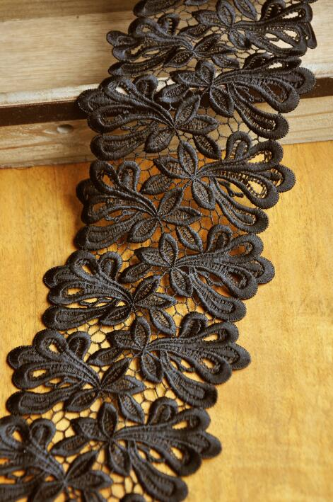 Image 3 - 2 Meters 11.5cm Width High Quality Black Lace Sewing Ribbon Guipure Venice Lace Trim Fabric Warp Knitting DIY-in Lace from Home & Garden