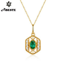ANI 14K Yellow Gold Women Wedding Necklace Fashion Design Natural Emerald Engagement collares Gemstone Pendant Necklace Chain caimao 0 35ct green emerald retro vintage pendant 14k yellow gold chain exquisite