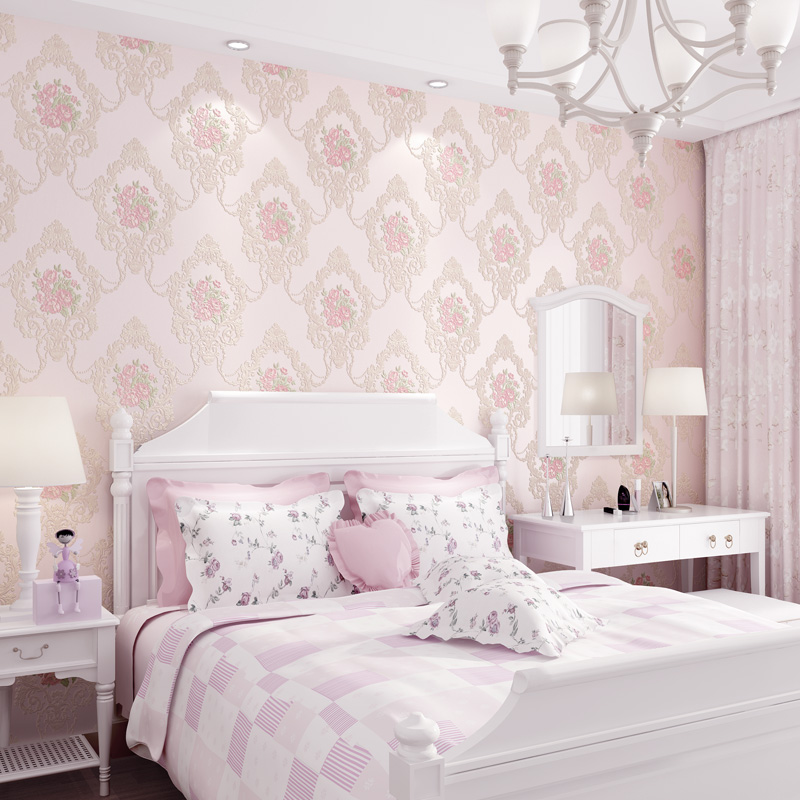 Beautiful Europe Flowers Wallpaper Self Adhesive Non-woven 3d Floral Wallpapers Roll Living Room Bedroom Mural Wall Paper QZ104