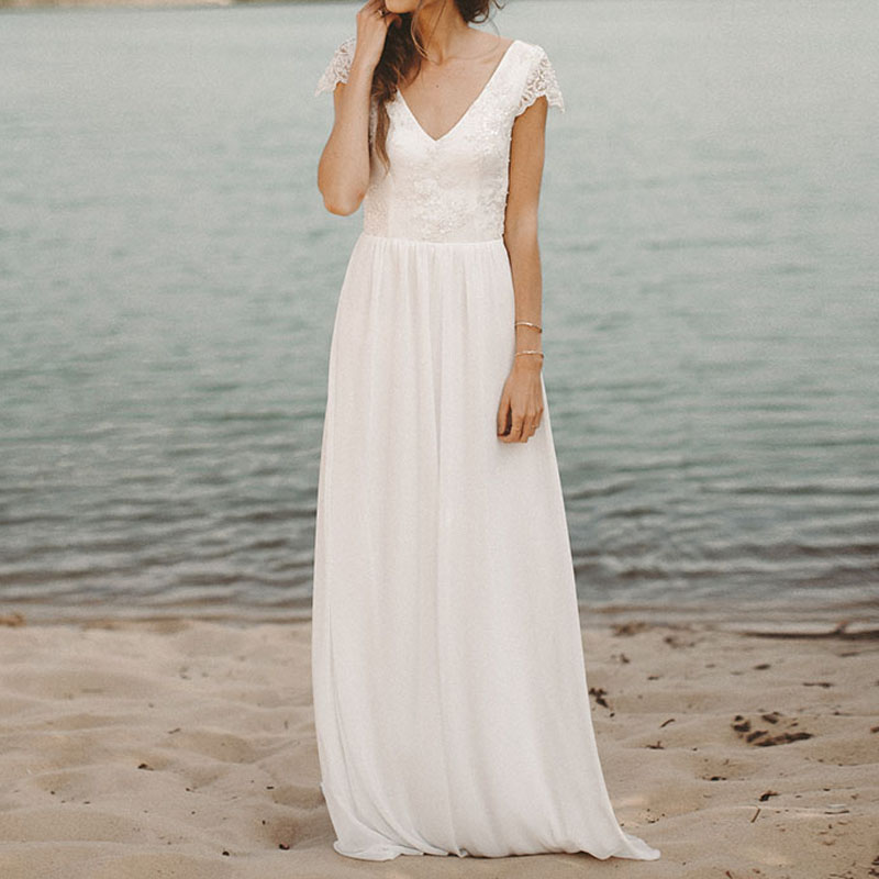 Miaoduo 2019 Beach Wedding Dress V Neck Cap Sleeve A-line Chiffon Skirt Lace Top Open Back Boho Bride Dress Wedding Gown Preventing Hairs From Graying And Helpful To Retain Complexion Weddings & Events