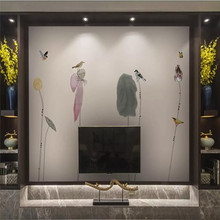 лучшая цена Simple Zen ink lotus mural wall background high-grade wall cloth manufacturers wholesale wallpaper mural photo wall
