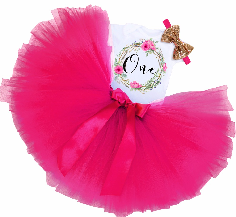 First Birthday Outfits Clothes Baby Girl Party Dress 12 Months Toddler Girls Dress Vestidos tutu costume for kids Wedding Wear(China)