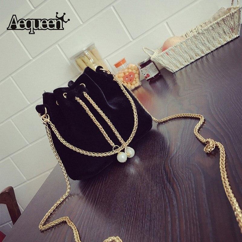 AEQUEEN Mini Drawstring Bucket Tassel Velvet Bag Women Famous Brand Shoulder Bag Chain Crossbody Messenger Bags Small Clutches