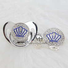 MIYOCAR Gold beautiful GOLD bling blue crown pacifier and clip set BPA free dummy unique design ABCB-1