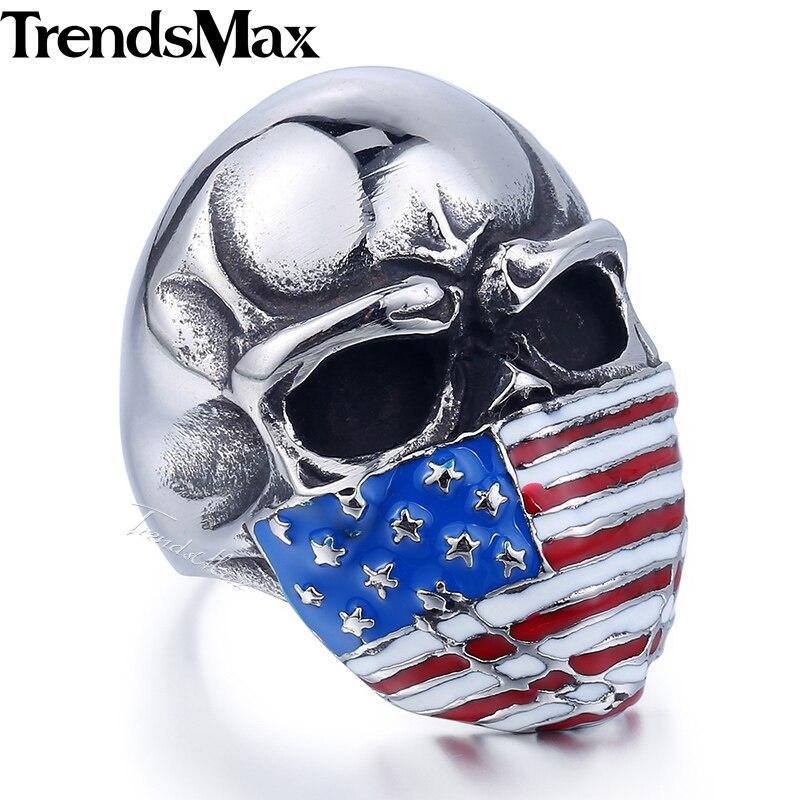 Prix pour Trendsmax Mode Hommes Anneau Drapeau Américain 316L En Acier Inoxydable Crâne Anneau En Gros Dropship Bijoux HR399