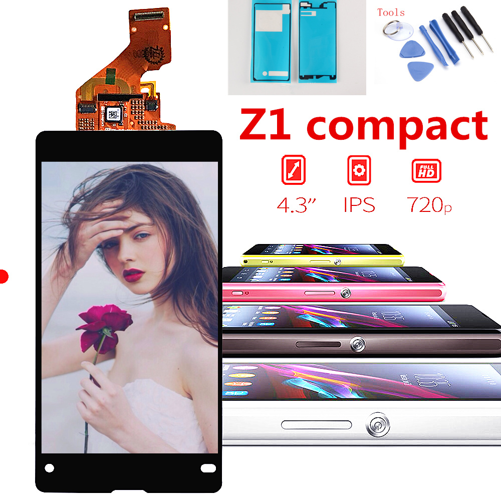 Original screen For Sony Xperia Z1 Compact D5503 Touch Digitizer LCD Screen Display Assembly Replacement +Tools+Adhesive