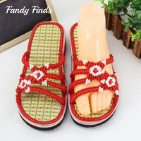 Simple Classical Flower Handmade Bamboo Sole Summer OutWear Hand Woven Women Slippers EVA Wedges Casual Customized Home Sandals
