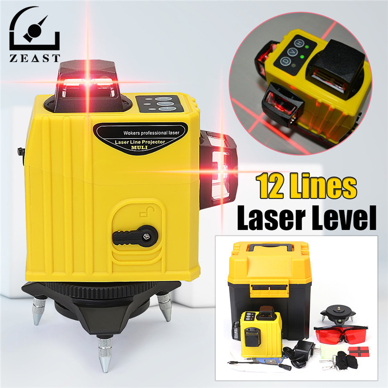 Laser Level 12 Lines 3DLaser Points Level Tilt Function 360 Rotary Self Lleveling Outdoor Corss Line Lazer Tools Measurement 16 colors x vented outdoor playing quad line stunt kite 4 lines beach flying sport kite with 25m line 2pcs handles