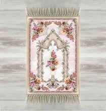 Indziej żółty różowy róże kwiaty róży 3d turecki islamska muzułmanin dywaniki modlitewne Tasseled Anti Slip nowoczesny dywanik modlitewny Ramadan Eid prezenty