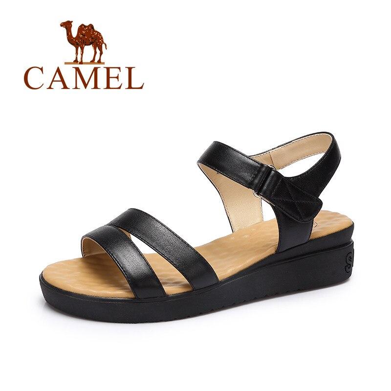 CAMEL Women Fashion Casual Soild Sandals Ladies Genuine Cow Leather Shoes Women Wedges Soft Elegant Exposed