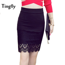 Tingfly Sexy Lace Patchwork Stretchy Slim Office Skirt Faldas Mujer Women 5XL Plus Size High Waist Step Pencil Skirt Saias