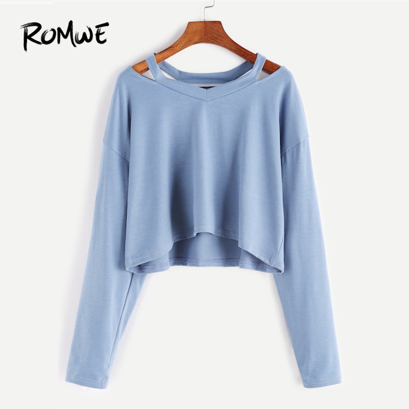 400048e7e Detail Feedback Questions about ROMWE Blue Cut Out Neck Crop T Shirt Women  Casual Spring Autumn Plain V Neck Long Sleeve Clothing Tops Ladies Preppy  Tee ...