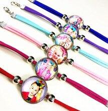 Jiangzimei 24pcs/lot  Hot style singer siwa Glass bracelets rose Plating of ancient silver charm bracelet for girls best gift