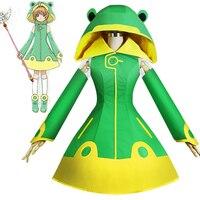 Japanese Anime Cardcaptor Sakura Clearcard Kinomoto Sakura Frog Cosplay Costume Frog Battle Uniform Halloween Carnival Costume