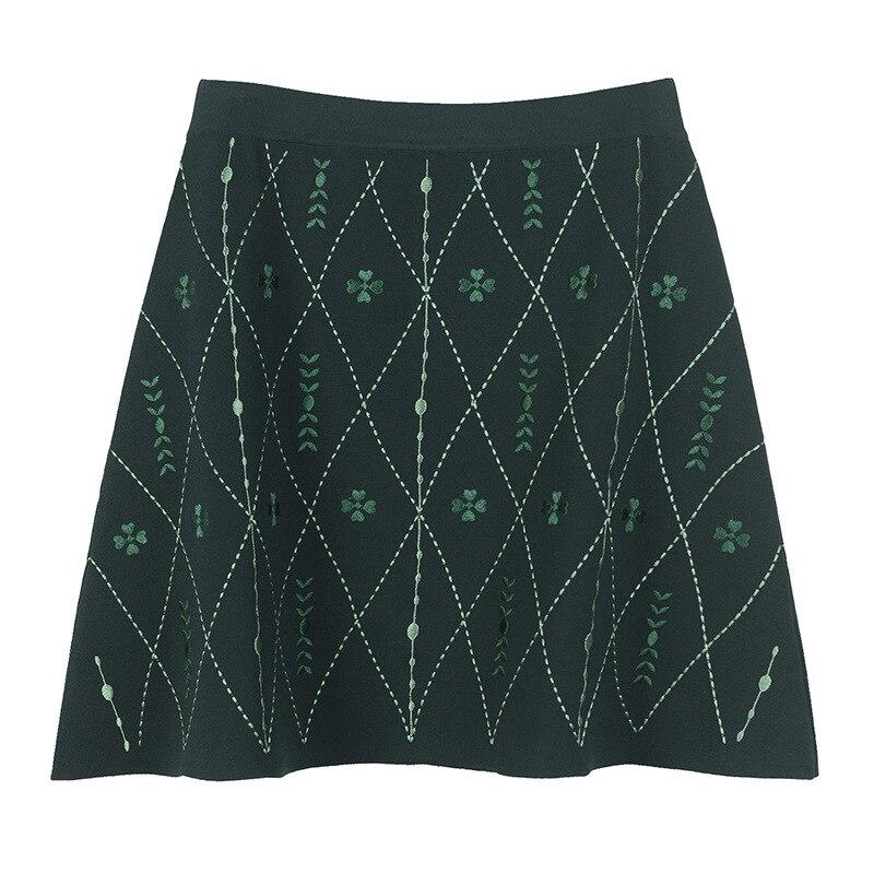 Livraison gratuite 2018 automne vert rhombique imprimer jupes femmes Designer célébrité Style Streetwear glace soie Mini jupe 91860
