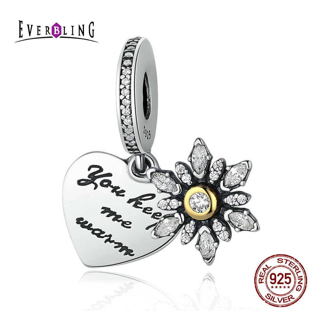 You Keep Me Warm Snowflake Heart Clear CZ 100 925 Sterling Silver Charm Beads Fit Pandora