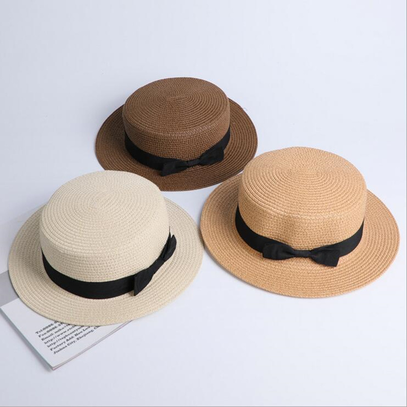 Seioum Wholesale Sun Flat Straw Hat Boater Hat Girls Bow Summer Hats For Women Kid And Beach Flat Panama Straw Hat Chapeau Femme