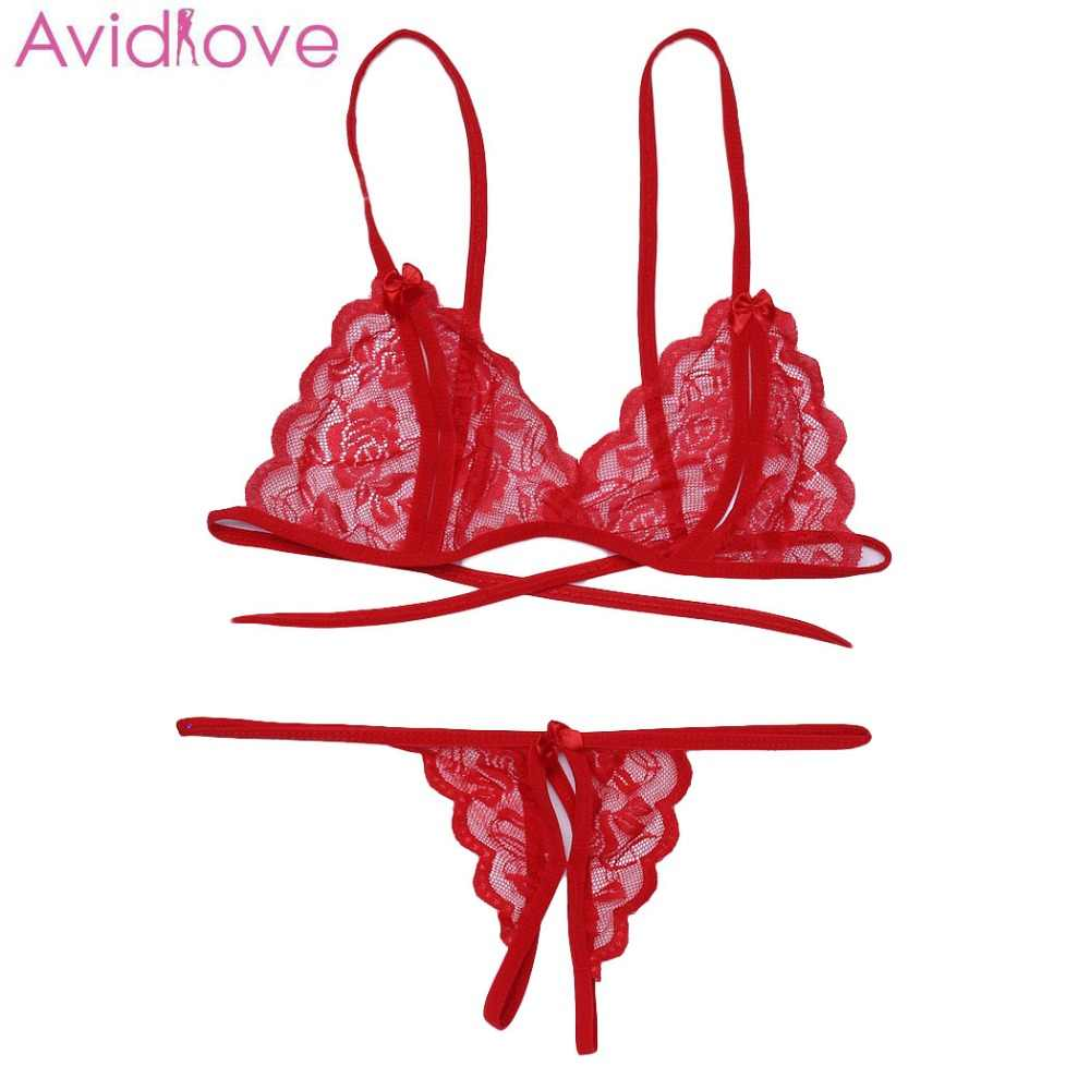 Avidlove Sexy Lingerie Sleepwear Hot Erotic Lingerie Open Bra Women Sexy Lace Floral Back Lace Up Lingerie Pajama Set Baby Doll