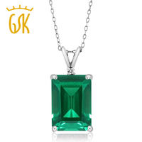 GemStoneKing Women S 6 52 Ct Octagon Green Simulated Emerald White Diamond 925 Sterling Silver Pendant