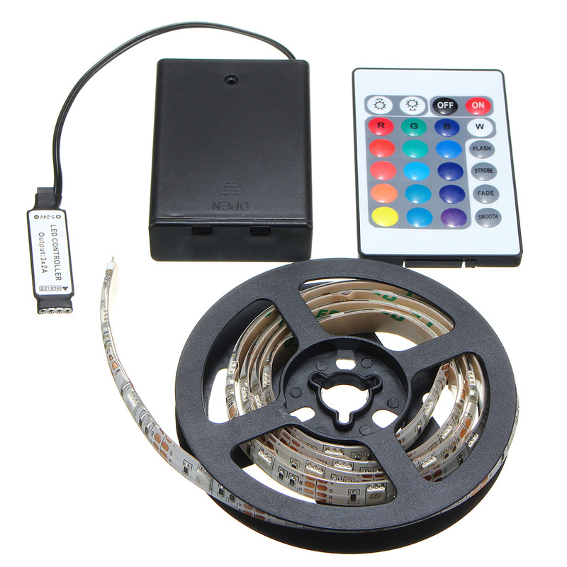 Flexible Waterproof/Non Waterproof 30/50/100/150/200cm RGB LED Strip Light 5050 SMD Battery Powered Remote Control
