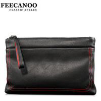 Feecanoo Men And Women Brand Day Clutches Black Message Bag Envelope Clutch Bag Long Design Cow