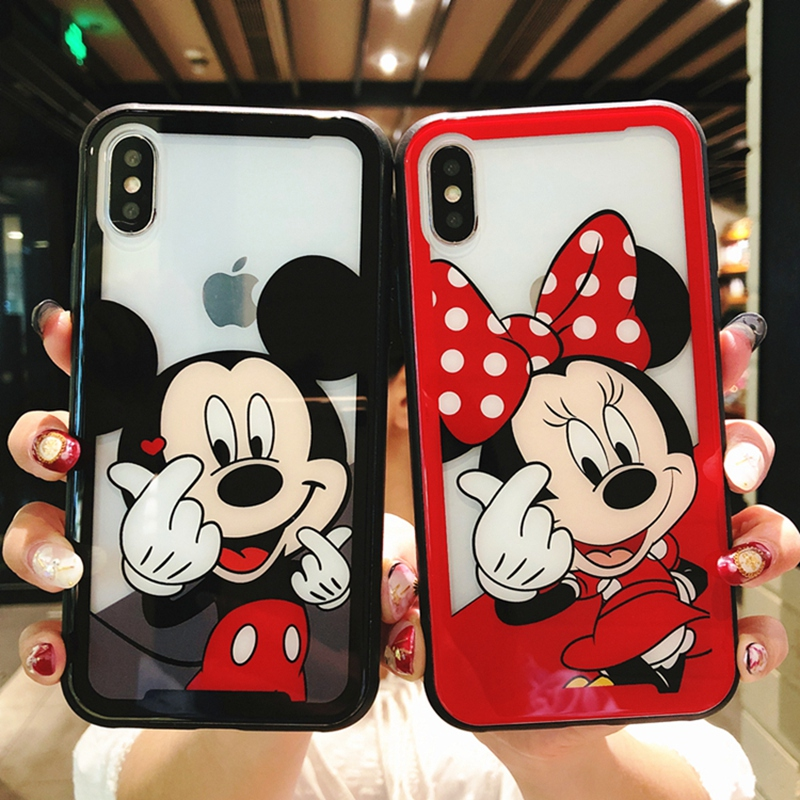 Cartoon Mickey Minnie Mouse Back Phone Case For iphone X 6s Plus Tempered Glass Back Cover For iphone 8 7 Plus Phone Shell Coque