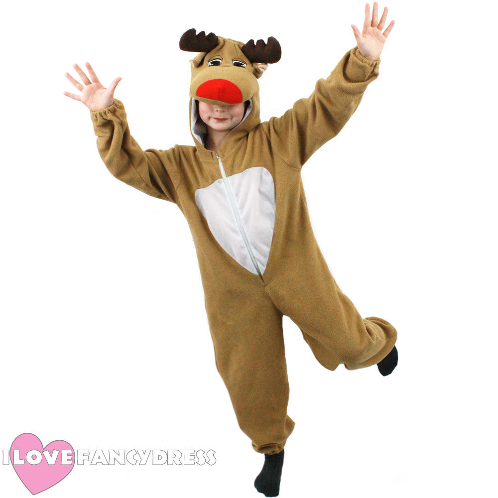 CHILD KIDS UNISEX REINDEER CHRISTMAS COSTUME ONESIZ XMAS RUDOLPH KIDS BOY GIRL FANCY DRESS FLEECE RUDOLPH MOOSE SUIT