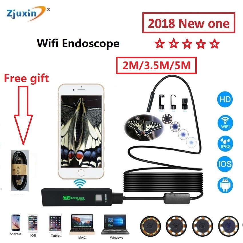 2018 WIFI Endoscope 2M New Camera 8mm HD Lens USB Iphone Android endoscope Tablet Wireless Endoscope wifi softwire 3 5m wifi endoscope new camera 8mm hd lens usb iphone android endoscope tablet wireless endoscope wifi softwire