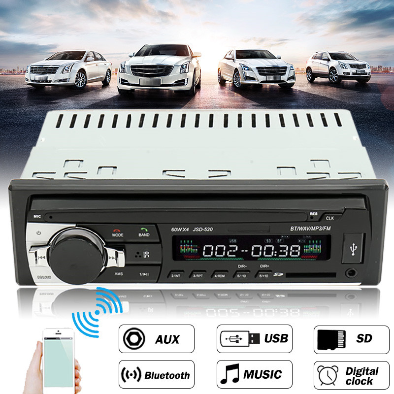 12V-24V Car Radio Bluetooth Auto Car Audio Stereo Player Support Phone AUX-IN MP3 FM USB 1 Din Remote Control In Dash