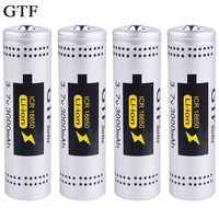 GTF 4pcs 18650 Battery 3000mah 3.7v rechargeable battery li on battery for ncr18650a high power Bank Battery