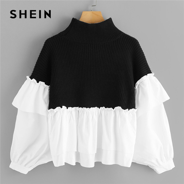 7633328d5 SHEIN Black and White Ruffle Two Tone Mixed Media Dolman Sweater Casual  High Neck Batwing Sleeve