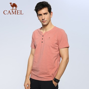 CAMEL Men Outdoor Casual T-shirt Sweat-absorbent Summer Soft Breathable Sport Shirt V-neck Short-Sleeve Tops