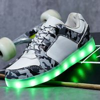 2018 children's boy fashion luminous lights USB shoes baby girl Pu leather Led sneakers EU size 25 36