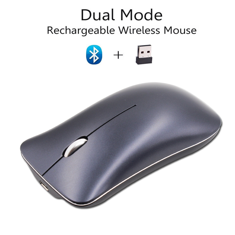 Cliry Dual Mode Aluminum Alloy Wireless 2.4Ghz+Bluetooth 4.0 Mouse 1600 DPI Ultra-thin R ...