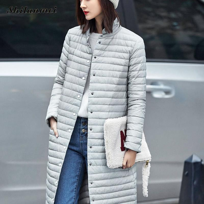 2017 Spring Warm New Women Long Thin Down Jacket Slim Korean Stand Collar White Duck Down Zipper Long Coat S-2XL 8 Colors new women s fashion authentic korean slim fur collar down jacket female long thick warm white duck down jacket for snow h1013