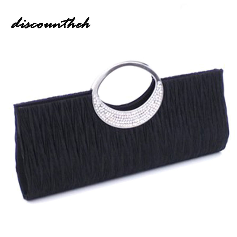 Hot Women Satin Pleated Rhinestone Evening Clutch Bag Metal Round Handle Bag Bridal Wedding Purse & Handbag Day