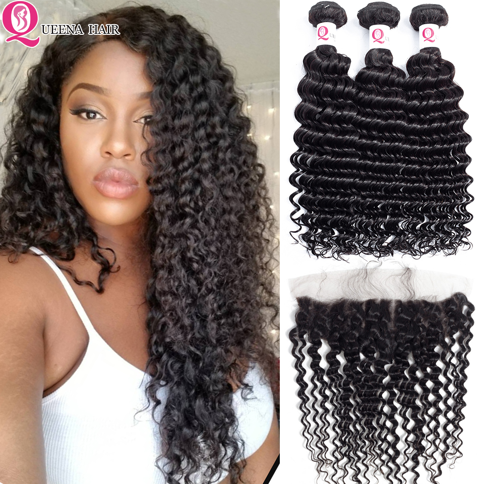 Raw Indian Hair Deep Wave Bundles With Frontal Closure Curly Weave Remy Human Hair Extensions Lace Frontal Closure With Bundles