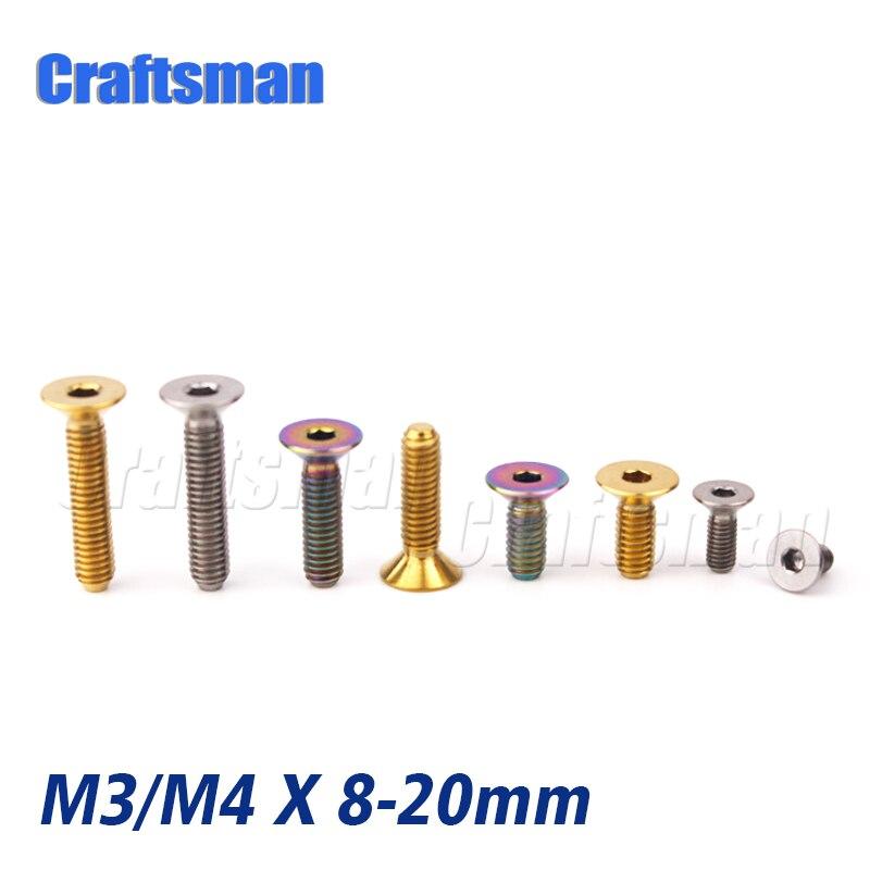 5pcs M4 x8//10//15//20//25//30//35//40//45mm Titanium Cylinder Allen Head Ti Screw Bolts