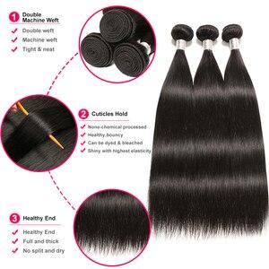 Image 2 - ברזילאי ישר שיער חבילות עם סגירת וונדר ילדה רמי שיער טבעי חבילות עם סגירת יכול להיות מותאם אישית לפאה
