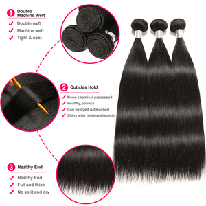 Image 2 - Brazilian Straight Hair Bundles With Closure Wonder girl Remy Human Hair Bundles With Closure Can Be Customized into a Wig