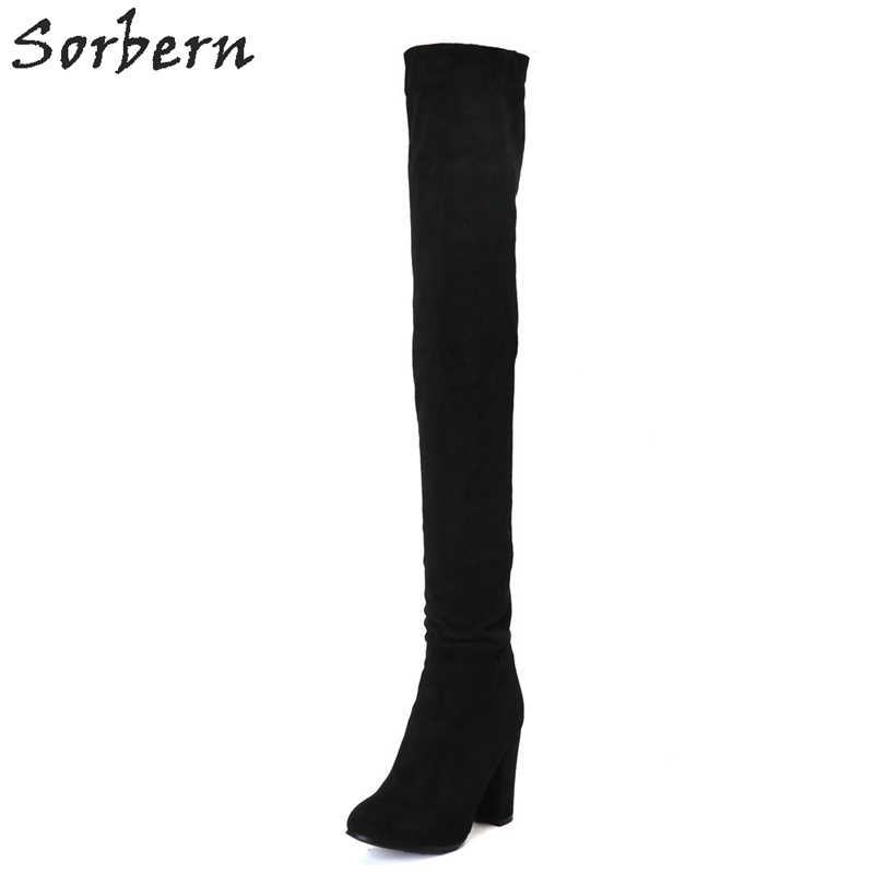 Sorbern 2018 Black Women Over Knee Length Boots Square Heel Plus Size Botines Mujer Bottes Femme Custom Color Ladies Boots цена 2017