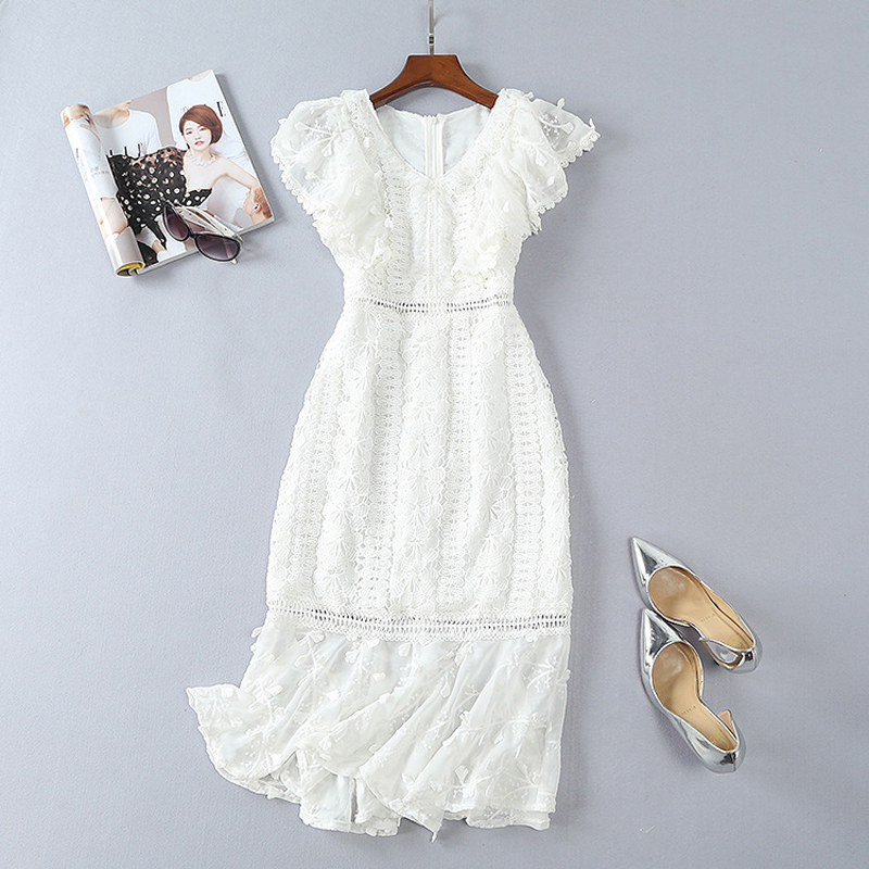 Summer Dress Women 2018 High Quality Runway Designers Elegant Dress Sleeveless Hollow Out Embroidered White Mid Calf Lace Dress