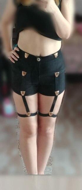 Punk Women Shorts Metal Leopard Button Decoration Elastic Band Hollow Out Hip Pop Summer Fashion Shorts photo review