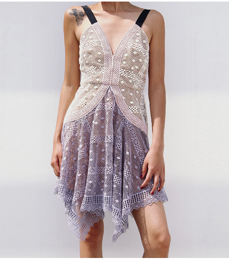 Designer femmes robe 2018 été violet rose Patchwork haut-bas femmes robe Chic dentelle robe femmes 80128