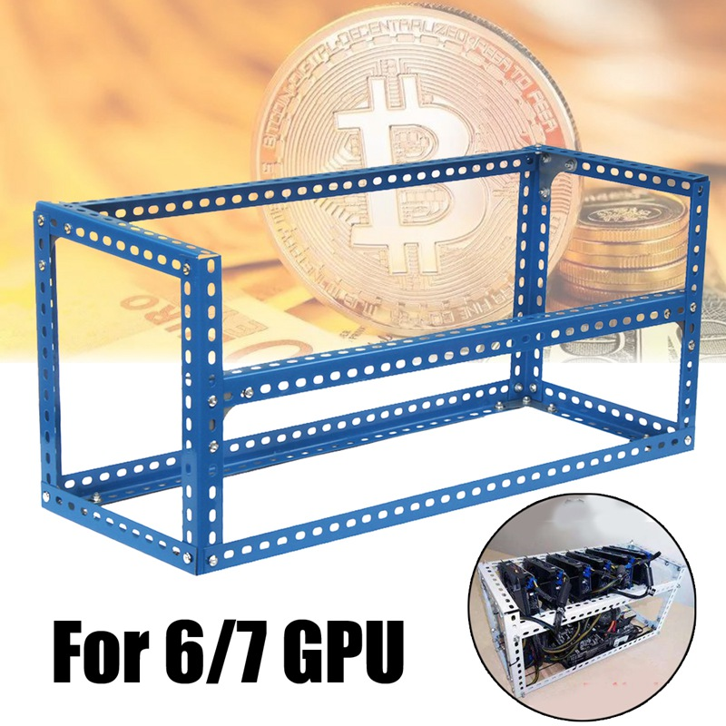 Leory Blue 6/7GPU DIY Steel BTC Rig Case Open Air Mining Miner Frame For ETH For ZEC Bitcoin Mining Machine