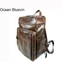 Океан BLUEVIN Новинка; Лидер продаж кожаный рюкзак мужская сумка корейской моды кожа масло воск Мужской рюкзак