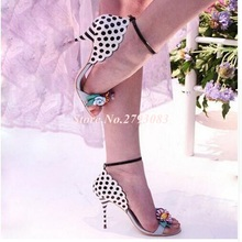 купить Bright Flowers Leaves Sandals Thin Heels Ankle Strap Woman Polka Dot Stripe Sandals Stiletto Heels shoes по цене 4367.7 рублей