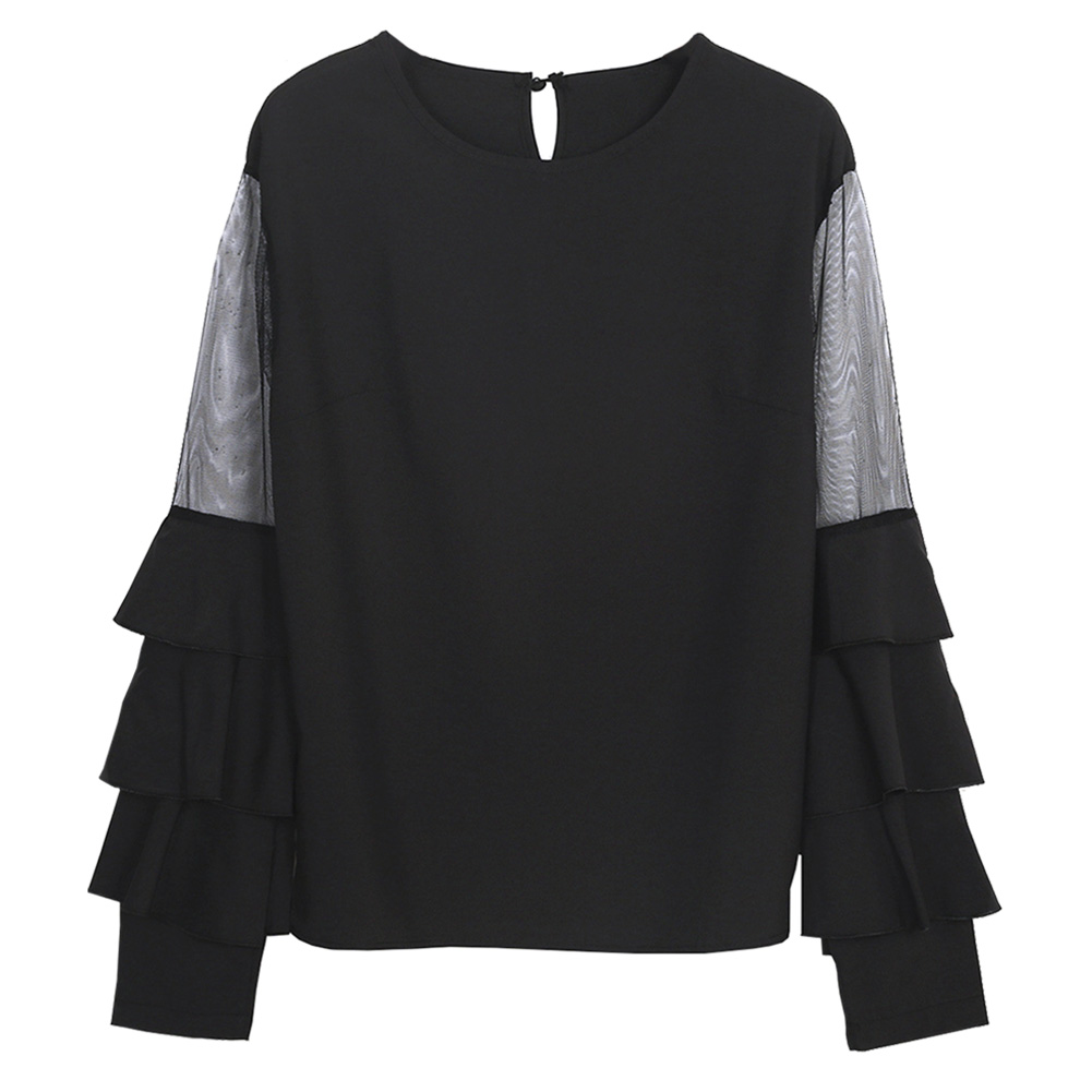Black Ruffle Long Sleeve Women Shirts Mesh Insert Tiered Bell Sleeve Office Ladies Tops 2017 Elegant Blouse by Bubabox