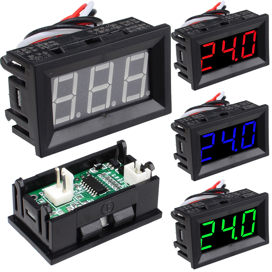 10pcs lot DC0 10A 50A 100A Digital Display Ammeter 4 Wire 0 56 LED Tube Red